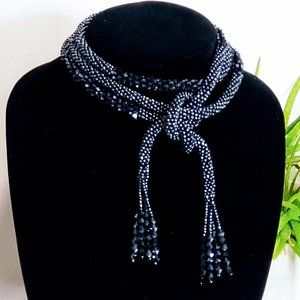 Navy Chrome Beaded Scarf with Tassel Ends 26 inch